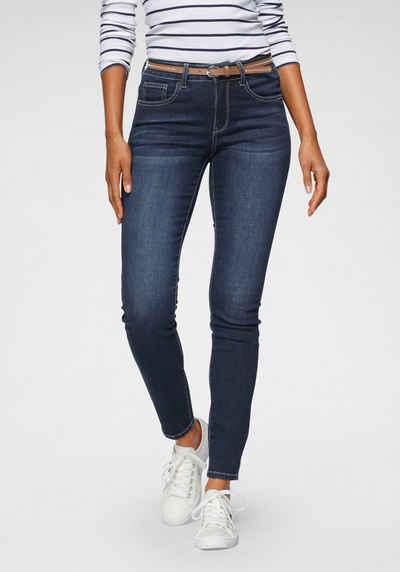 TOM TAILOR Polo Team Slim-fit-Jeans (mit Gürtel in Lederoptik) in elastische Denim-Qualität - NEUE KOLLEKTION