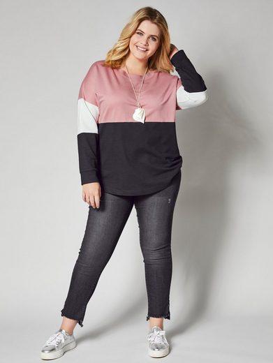 Angel of Style by Happy Size Sweatshirt mit Farbkontrasten