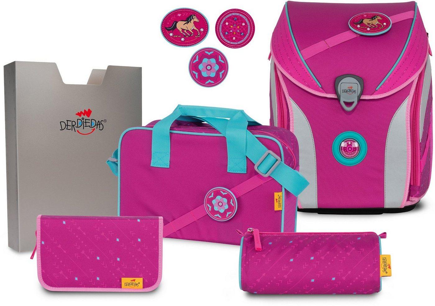 derdiedas® -  Schulranzen »ErgoFlex MAX Buttons - Boho« (Set), mit 3 Buttons