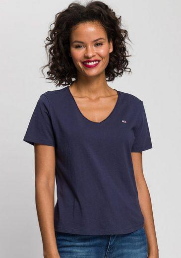 Tommy Jeans V-Shirt »TJW SLIM JERSEY V NECK« mit Tommy Jeans Logo-Flag auf der Brust