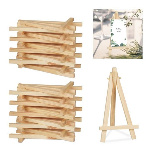 relaxdays Mini Staffelei »20 x Staffelei klein aus Holz«