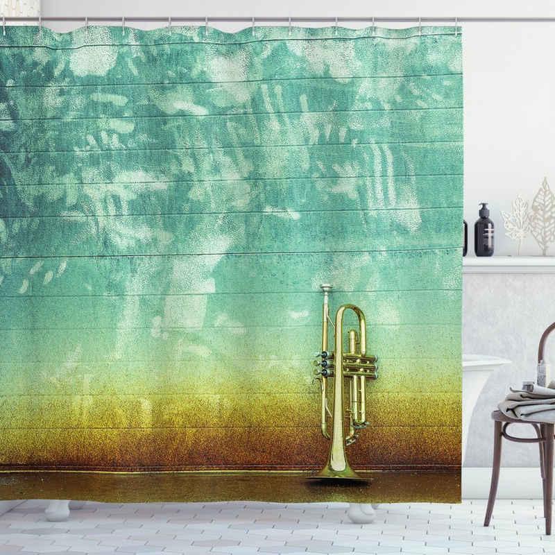 Abakuhaus Duschvorhang »Moderner Digitaldruck mit 12 Haken auf Stoff Wasser Resistent« Breite 175 cm, Höhe 200 cm, Musik Alte getragene Trompete Grungy