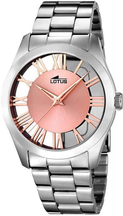 Lotus Quarzuhr »UL18122/1 Lotus Damen Uhr Elegant L18122/1 Stahl«, (Analoguhr), Damen Armbanduhr rund, Edelstahlarmband silber