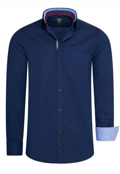 Rusty Neal Langarmhemd im trendigen Kontrast-Design