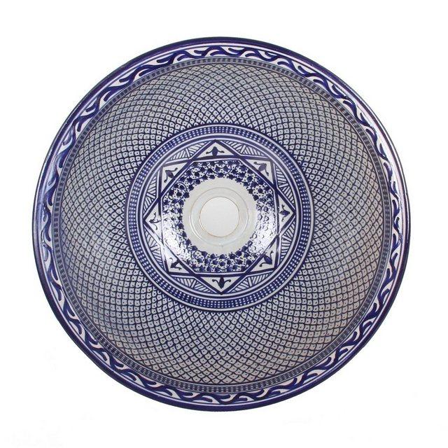 Waschtische - Casa Moro Waschbecken »Mediterranes Keramik Waschbecken Fes106 rund Ø 40 cm bunt Höhe 18 cm, Marokkanisches Handwaschbecken Aufsatzwaschbecken für Bad Waschtisch Gäste WC«, Handmade  - Onlineshop OTTO