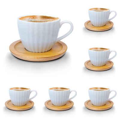 Melody Tasse »Porzellan Tassen Set Teeservice Kaffeeservice mit Bambus Untertassen 12-Teilig«, Porzellan, Espressotassen, 6er-Set, mit Bambus Untertassen