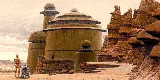 Komar Fototapete »Star Wars Classic RMQ Jabbas Palace«, glatt, futuristisch, mehrfarbig, Weltall, (Packung)