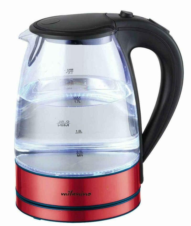 Milanino Wasserkocher Glas Wasserkocher LED Beleuchtung Edelstahl Teekoc, 1,7 l, 2200 W, 1,7L Liter / 2200 Watt / LED-Innenbeleuchtung Filterauslauf und Trockenlaufschutz
