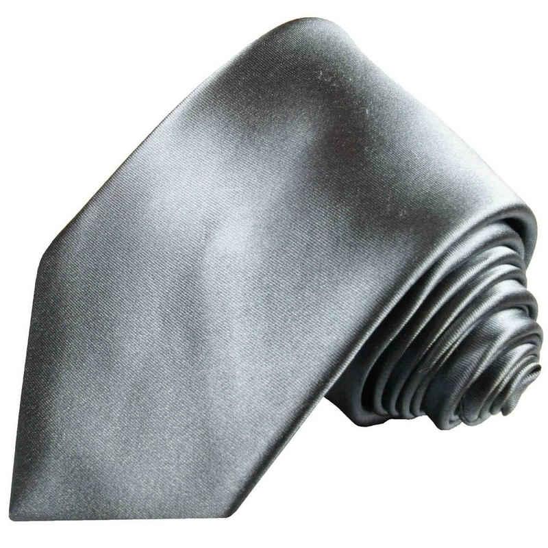 Paul Malone Krawatte »Herren Seidenkrawatte Schlips modern uni satin 100% Seide« Schmal (6cm), silber 360