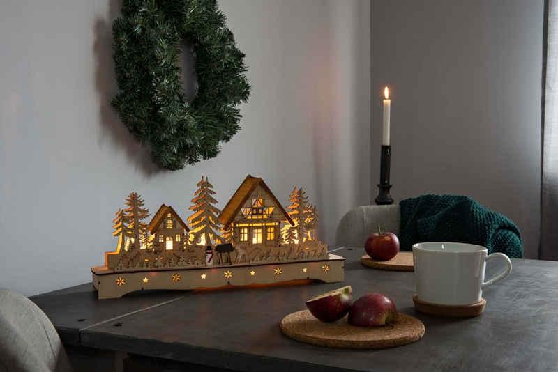 KONSTSMIDE Weihnachtsdorf, LED Holzsilhouette, Dorf mit Schneemann und Rentier