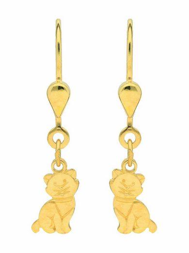 Adelia´s Paar Ohrhänger »585 Gold Ohrringe / Ohrhänger Katze«, Goldschmuck für Damen