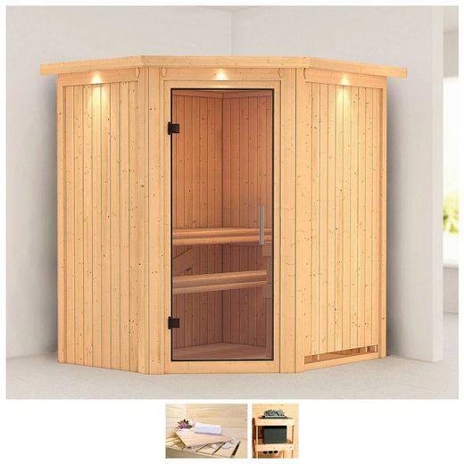 KARIBU Sauna »Tonja«, 187x169x202 cm, ohne Ofen, Dachkranz