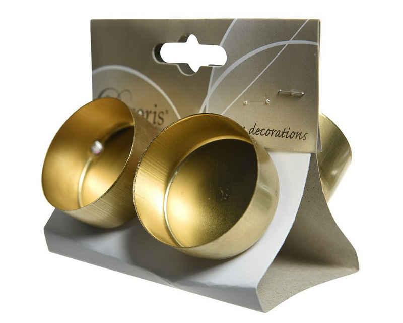 CHRISTMAS GOODS by Inge Teelichthalter, Teelichthalter Adventskranz Metall 4,2cm mit Dorn hellgold, 4 Stück