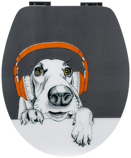 WC-Sitz »DJ Dog«, mit Absenkautomatik und Holzkern