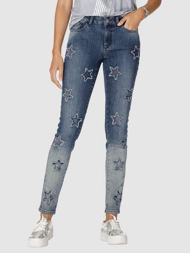 Amy Vermont Jeans mit Sternen allover und Strasssteindekoration im Vordertei