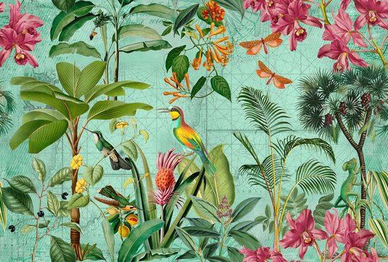 living walls Fototapete »ARTist Tropical Paradise«, (Set, 4 St), Dschungel Vögel Schmetterlinge, Vlies, glatt