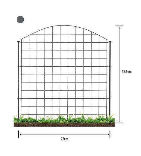 HC Garten & Freizeit Metallzaun »Teichzaun Oberbogen 11-tlg. Komplettset«, 6 Elemente 77x78,5 cm (BxH), 6 Stäbe 98 cm lang