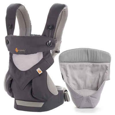 Ergobaby Babytrage »360 Cool Air Mesh - Carbon Grey«, Babytragen-Set inkl. Neugeboreneneinsatz Easy Snug Bauchtrage, Rückentrage (4 Tragepositionen)