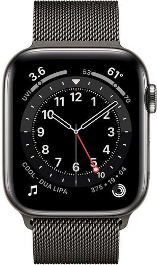 Apple Series 6 GPS + Cellular, Edelstahlgehäuse mit Milanaise Armband 44mm Watch (Watch OS, inkl. Ladestation (magnetisches Ladekabel)