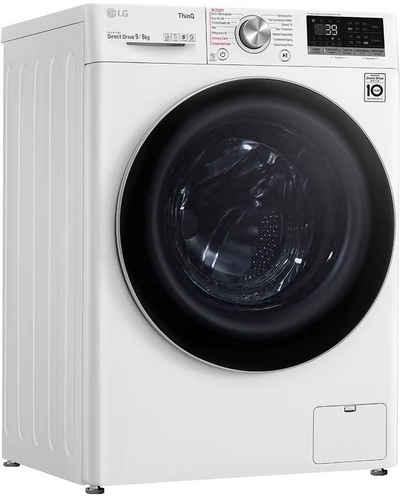 LG Waschtrockner V7WD906A, 9 kg, 6 kg, 1400 U/min
