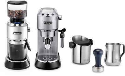 De'Longhi Siebträgermaschine ECKG6821.M, inkl. Dedica Kaffeemühle KG 521.M, Tamper, Abschlagbox und Milchaufschäumkännchen im Wert von 338,- € UVP