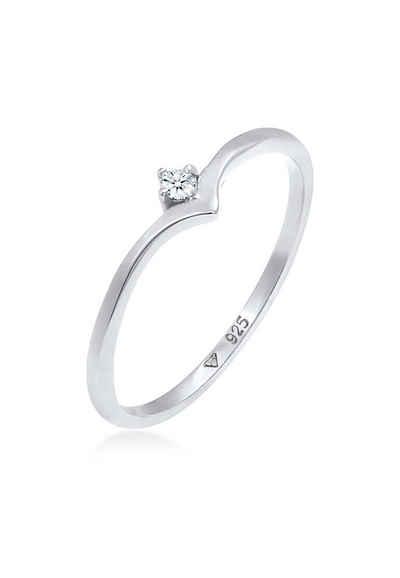 Elli Premium Diamantring »Solitär Diamant (0.03 ct) V-Form 925 Silber«, Verlobungsring