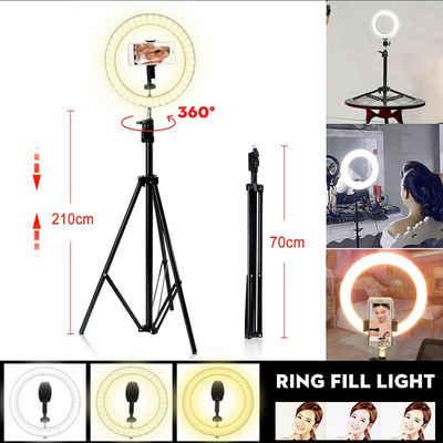 vokarala Ringlicht, Tragbare LED Dimmbar 10 Zoll Ringleuchte Ring Licht Stativ Ringlicht + 210cm Handy Stativ für Live YouTube Makeup - Dynamic