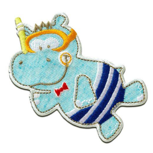 Catch the Patch Aufnäher, Polyester, Hippo Nilpferd - Aufnäher, Bügelbild, Aufbügler, Applikationen, Patches, Flicken, zum aufbügeln, Größe: 7,6 x 8,7 cm