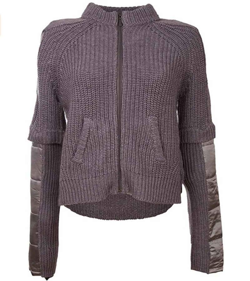 TUZZI Shirttop »TUZZI Zipper-Jacke topmische Damen Strickjacke mit Padding Frühlings-Jacke Grau«
