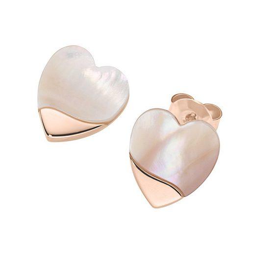 Smart Jewel Paar Ohrstecker »Herzen mit Perlmutt, Silber 925«