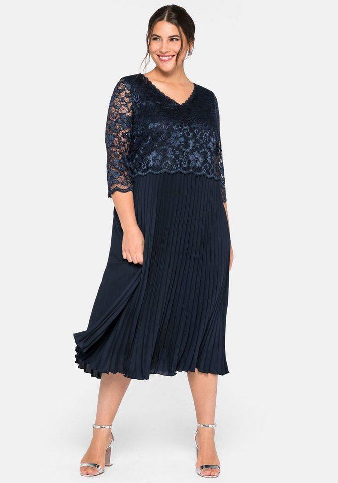 Festtagsmode - Sheego Abendkleid mit elegantem Spitzenoberteil ›  - Onlineshop OTTO