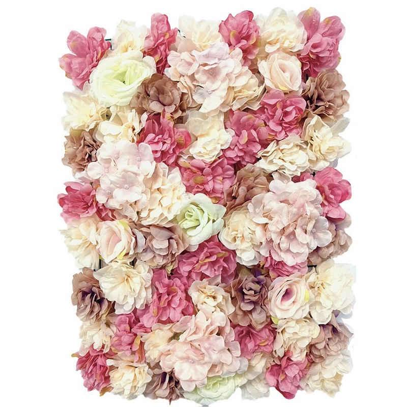 Kunstblume »Künstliche Blumenwand Panel 40*60cm Seidenblume Strauß Hochzeit Wohnzimmer Party Garten Deko«, Baesset