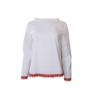 Rossana Diva Blusentop »rossana diva Freizeit-Bluse modische Damen Ausgeh-Bluse mit farbigen Armabschluss und Saum Business-Bluse Weiß«