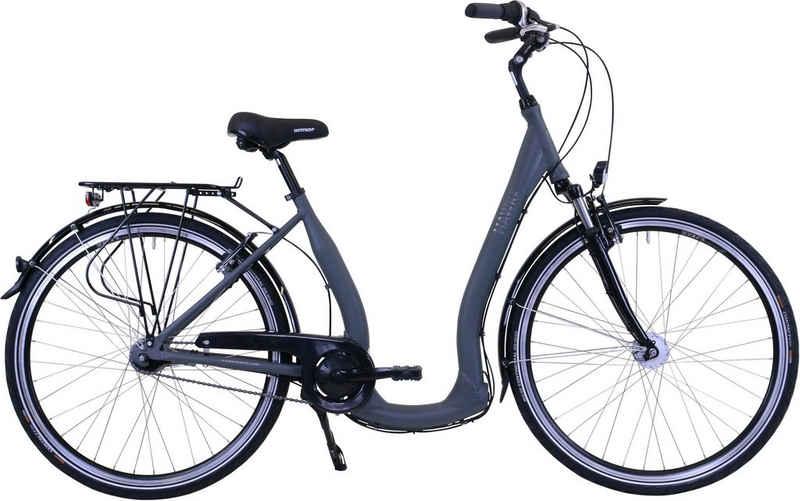 HAWK Bikes Cityrad »HAWK City Comfort Deluxe Grey«, 7 Gang Shimano Nexus Schaltwerk