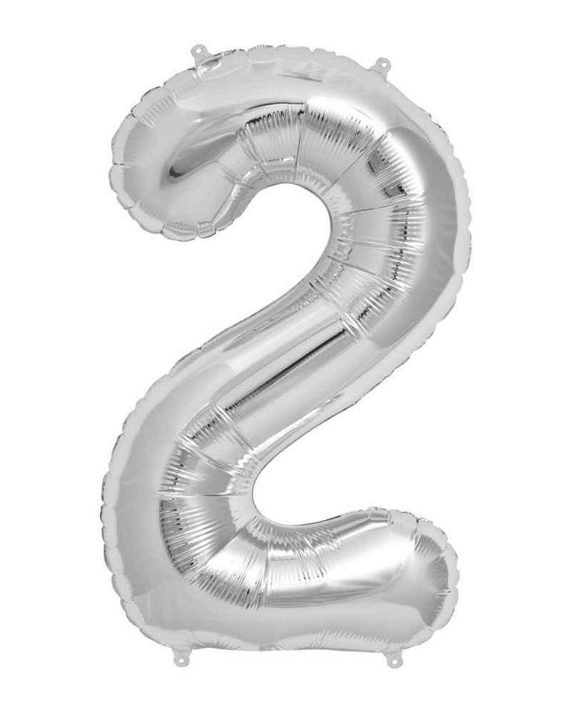 Horror-Shop Folienballon »Folienballon Zahl 2 Silber«